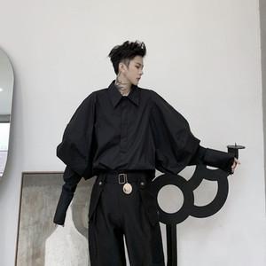 Мужчины ретро мода широкий с длинным рукавом повседневная рубашка мужской Япония Streetstyle Vintage Punk Gothic Свободные Платья Рубашки Стадия Одежда C1212