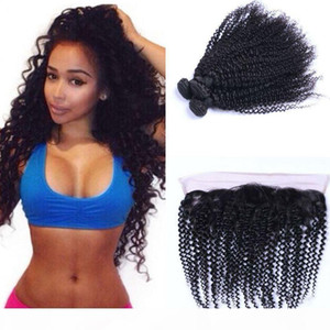 Human Hair Bundles with Frontal Closure Kinky Curly Brazilian Virgin Hair Weave Bundles with Lace Frontal