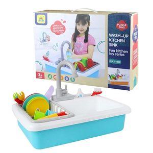 Freeshipping Simulation Electric Kitchen Set Toys For Girls Niños Fregadero Lavavajillas Juguetes Cocina Pretend Play Toys Kids Laver Toy LJ201211
