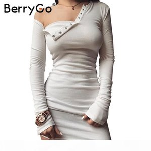 Berrygo Elegant Off Shoulder Bodycon Dress Long Sleeve Short Evening Party Club White Dress Women Autumn Winter Black Sexy Dress Q190402