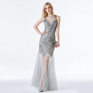 Yidingzs lantejoulas beading vestidos de noite sereia longo formal noite vestido 2020 novo estilo lj201124