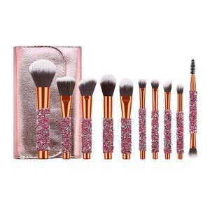 New 10 pcs Makeup Brushes Set Rose Golden Glitter Shiny Crystal Diamond Makeup Brush Set With PU Bag Foundation Blush Brush Kit