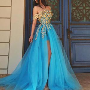 Romantic Evening Dresses Long 2021 Gold Lace Appliques A Line Prom Dresses Sexy Front Slit Plus Size Party Formal Dress P143