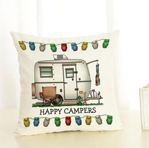 Happy Campers Pillow Case Cartoon Campers Caravan Dining Car Christmas linen Pillow Cases Office Home Hotel Cushion Cover 45*45cm DDC2612