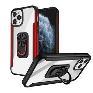 iPhone 12 Mini 11 Pro Max XR XS 7 8 Artı için Hibrid Şeffaf Parmak Halkası Parantez Manyetik Araç Tutucu Darbeye Sert Kılıf