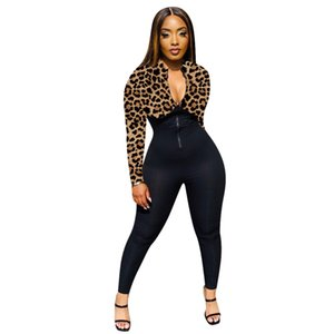 Women Leopard Print Jumpsuit Front Zipper Long Sleeve Fitness O-neck Long Romper Jogging Femme Outfits