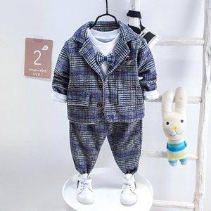 Baby Boy Fashion Vêtements Formel Vêtements Enfants Cravate Ensemble Haute Qualité Automne Printemps Vêtements enfant Gentleman Three-Piece Suit012345 Z1214