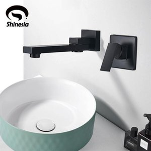 Shinesia Basin Faucet Wall Mounted Matte Black Vessel Sink Cold Water Tap for Bathroom Kitchen Only Cold Water Faucet