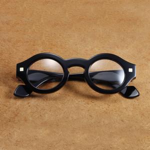 Vazrobe vintage telaio maschile rotondo uomo steampunk moda occhiali occhiali nero spesso campo vetro ew09