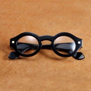 Eyewear Black Frame Field Men Round Vintage Glass Black Glasses Maschio Steampunk Spessore Vazrobe Fashion EW09 HQSRG