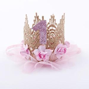 Enfants 1st ans Numéro Crown Bandeau Crown Bandeau Princesse Rose Fleur Lace Dentelle Maille Anniversaire Chapeau Anniversaire Accessoire Halloween