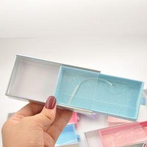 wholesale 20 pack False Eyelash Packaging Blue Glitter Box Lash Drawer Paper Boxes Faux Cils 25mm Mink Natural Eyelashes makeup Case