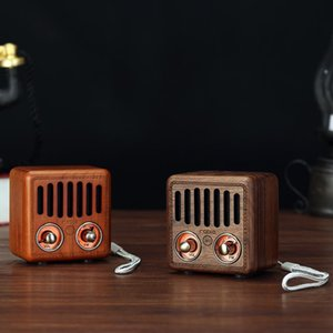 Portable Vintage Radio Retro Wooden Bluetooth Speaker Strong Bass Enhancement Mini Speaker Support FM TF Card AUX o MP3 Play