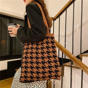 Kore Örme Kumaş Omuz kadın Çantası Dokuma Yün Tote Shopper Çanta Lady 2021 Vintage Pamuklu Bezi Houndstooth Çanta