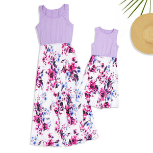 2020 Summer Family Matching Outfits Mommy And Me Sleeveless Dress Clothes Floral Patchwork Long Dresses For Mother And Daughter LJ201106