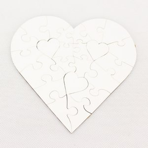 2021 Sublimation Blank Heart Puzzles DIY Puzzle Heart love Shape Puzzle Hot Transfer Printing Blank Consumables Child Toys Gifts