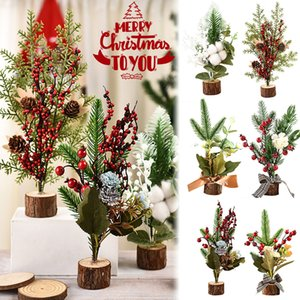 Wooden PET Multi-style Window Gift Christmas Small Christmas Ornaments Tree Hybrid desktop potted artificial flowers creative gift