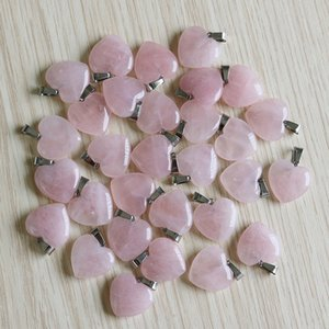 Fubaoying Heart Stone Pendant 30pcs Lot Pink Quartz Crystal Accessories 20mm Fashion Charm Natural For Jewelry Making Q1129
