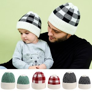 Autumn Winter Parent-child Hat Set Warm Soft Full Thermal Warm Hat Daily Wool Knitted Fleece Lattice Cap Parent-child Se