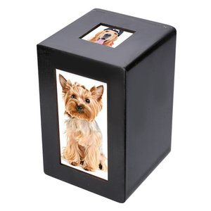 Mayitr Black Wooden Pet Urn Box Dog Cat Cremation Urn Peaceful Memorial Photo Frame Keep Box For Dog Quiet Home Place Z1123