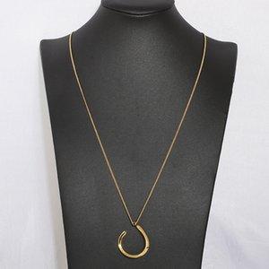 Simple Geometric Pendant Women Necklace New Trendy Gold Color Metallic Style Long Pendant Coat Necklace Retails Jewelry 90 CM