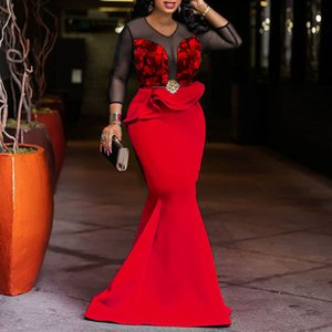 African Ladies Long Party Mermaid Dress Sexy Transparent Mesh Ruffles Women Wedding Evening Plus Size Bodycon Maxi Dress Trumpet T200306