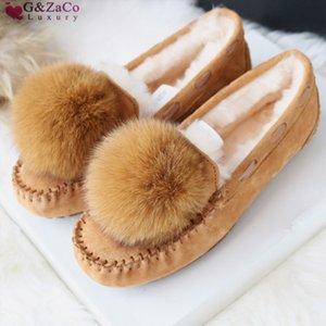 Gzaco lujo otoño invierno oveja natural zorra piel genuina cuero vaca gamuza nubuck hembra plana zapatos Q1206