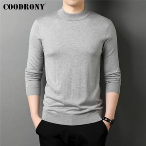 COODRONY Brand Spring Autumn High Quality Casual Long Sleeve Pure Color Knitwear Turtleneck Sweater Pullover Men Clothing C1256