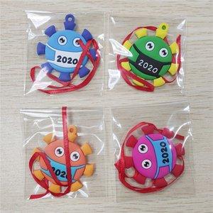 2020 Quarantine Christmas Ornaments Xmas Tree Hanging Personalize Wearing Mask Cartoon Dolls Souvenir Decorative PVC Pendent sale F112102