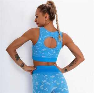 New product yoga sports underwear seamless striped jacquard yoga vest sexy beauty back hollow breathable sweat sports Bra DS83