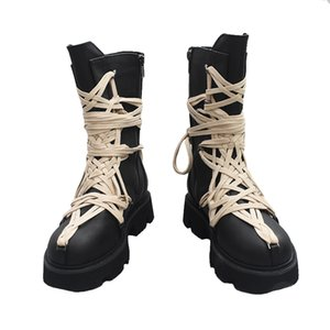 Martin Boots Woman Platform Lace Up Decor Short Booties Thick Bottom Mid Trendy Saappaat Cozy Shoes Chaussures Femmes De Mujur