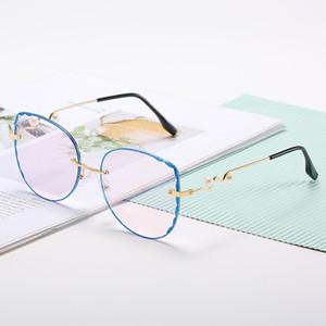 Korean 2020 flat lens fashion women's Sunglasses anti blue myopia ultra light spectacle frame personality gold edge fashion eyeglass frame