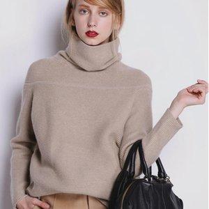 Beliarst Nuevo otoño e invierno suéter de cachemira de mujer Alto collar grueso suéter de color sólido suelto suéter de punto jersey salvaje y200116