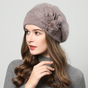 Fibonacci Nueva Calidad de Marca Femenino Beret Wool Punto Hat Hat Otoño Invierno Moda Floral Mujeres Boinas T200718