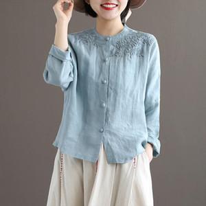 Autumn Arts Style Women Long Sleeve O neck Loose Shirts Vintage Embroidery Cotton Linen Blouses Tops Femme Blusas Plus Size D418