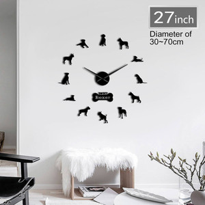 Boxer Dog Breed 3D DIY Wall Clock Living Room Unique Acrylic Design Gift Idea For Dog Puppy Pet Lover Personalized Clock Watch 201202