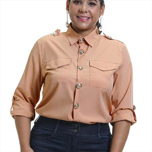 6XL Military Top Ladies Casual Button Blouse Blusa Feminina Plus Size Women Shirts With Pocket Blouse Offices Lady D30