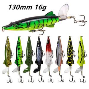 1pc 8 Colors Mixed 3D Eyes Popper Plastic Hard Baits & Lures 130 MM 16 G 6# Blood Slot Hook Fishing Hooks Pesca Fishing Tackle B148_210