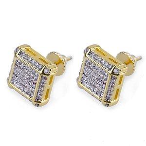 Stud Earrings for Men Iced out CZ Diamond Zirconia earring womens ear ring earing Man Hip Hop hiphop Jewelry male fashion Jewellery NEW