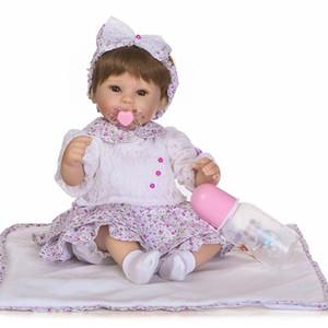 Neue Ankunft 40cm Realistische Reborn Puppe in lila Blumenrock Anzug Hohe Qualität Perücke Haarspülge Geschenk Für Kinder