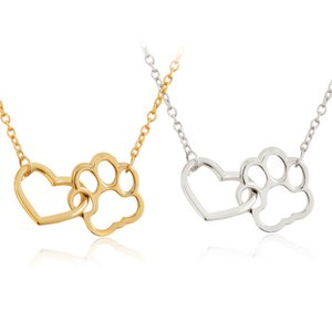 Poshfeel Pet Paw Footprint Necklaces Cute Animal Dog Pendant Necklace for Women Girls Jewelry 200928