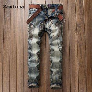 Samlona Plus Size Men Jeans Jeans Pantaloni Denim 2021 Primavera Slim Bottoms Pant maschile patchwork jeans jeans matita Pantaloni da uomo Abbigliamento da uomo
