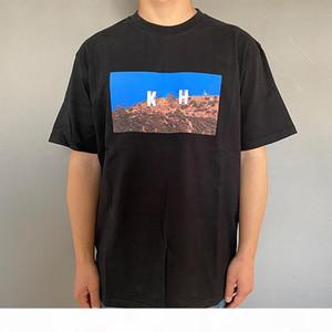 20FW Classic Hollywood Tee Solid Color Landscape Printed T-Shirt Summer Short Sleeves Men Women Street Skateboard Tee HFYMTX674