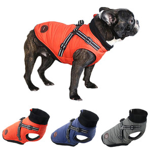 French Bulldog Jacket With Harness Winter Warm Dog Clothes For Small Medium Dogs Waterproof Pet Coat Chihuahua Pug Teddy Outfits Y1124
