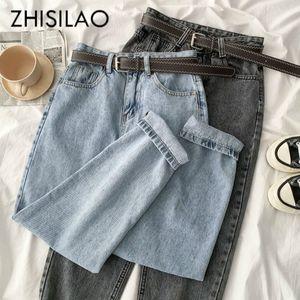 Vintage Straight High Waist Jeans Women Boyfriend Mom Street Denim Jeans with Belt 2020 Loose Plus Size Jeans Mujer Retro