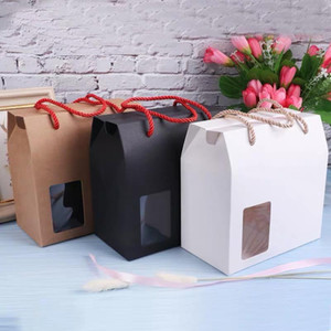 10pcs lot black white red kraft paper handle candy boxes with clear pvc window small blank paper gifts wedding package bag box