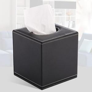 Boîte de papier à rouleau de forme carrée Boîte de tissu Creative Home Papier Tube Tube Hôtel Tissu Boîte (Noir)