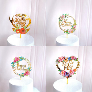 Acrylic Decorate Card Love Heart Shaped Cake Insertion New Lovely Flower Birthday Party Arrangement Prop Ornaments 3zw K2