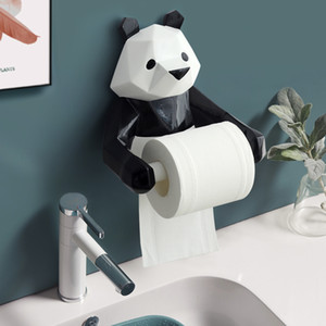 Resin Panda Figurin Roll Toilet holder Wall Mounted Paper box Bathroom Decoration Tissue Y1125