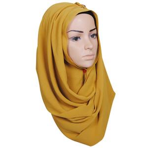 Frauen-einfache Chiffon-Schal-Kopf-Wrap-einfarbige Maxi-Tücher Islamisches Stirnband Muslimische Hijabs Turban-Schals Schal 78 Farben Beliebt F120201